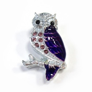 Fancy Stationery Daily Necessity Interior Accessory Glitter Owl Magnet Silver Lavender