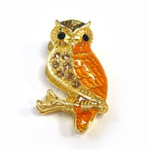 Fancy Stationery Daily Necessity Interior Accessory Glitter Owl Magnet Gold Yellow