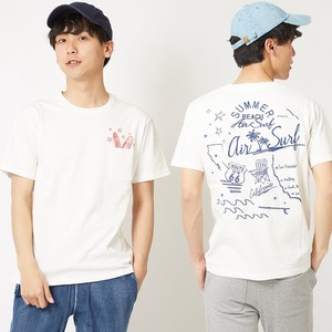 Embroidery Pocket T-shirt Men's Ladies Short Sleeve Cut And Sewn Print Crew Neck