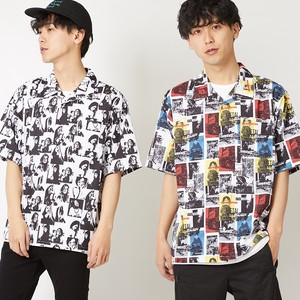 Repeating Pattern Open Color Shirt Men's Ladies Short Sleeve Shirt Over Big Silhouette