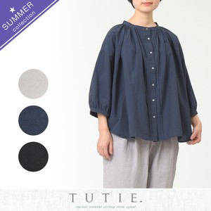 Cotton Linen Closs Tuck Gather Blouse