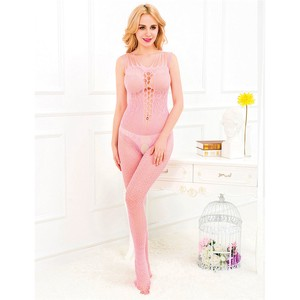 Curve Open Body Stocking Pink