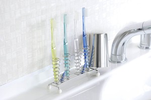 Slim Stainless Toothbrush Stand Up