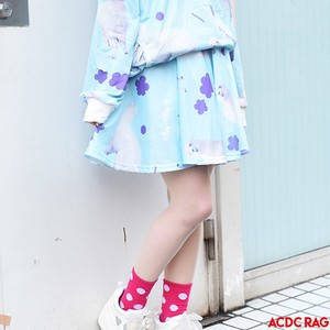 Alpaca Flare Skirt Pastel Color Colorful Blue Light Blue