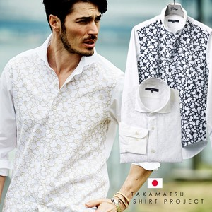 Flower Embroidery Front Switch Casual Shirt