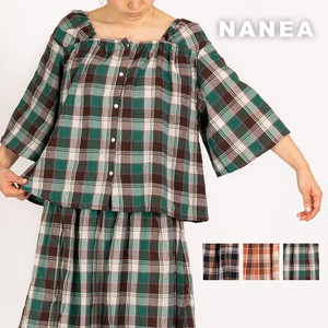 Carry S/S Change Weaving Checkered Square Neck