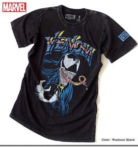 ★大人気アメコミMARVELマーベルのスパイダーマンの悪役キャラ、ヴェノムのウォッシュ加工プリントTシャツ
