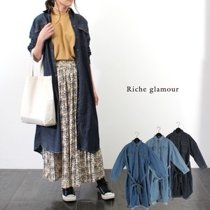 Denim Shirt One‐piece dress.