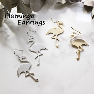 Pierced Earring Flamingo Metal Pierced Earring Flamingo Pierced Earring Accessory S/S