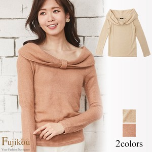 Knitted Pullover Ribbon Off-Shoulder