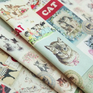 Fabric Vintage Cat Design Fabric Unit Cut Sales