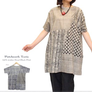 b9fd8cfe9a010 S/S India Dyeing With Vegetables Block Print Patchwork Tunic Leisurely  Adult Ethnic
