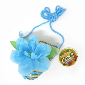 Fashion Accessory Bag Pouch Tropical Straw Pouch Hibiscus Blue