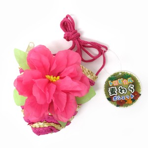 Fashion Accessory Bag Pouch Tropical Straw Pouch Hibiscus Pink