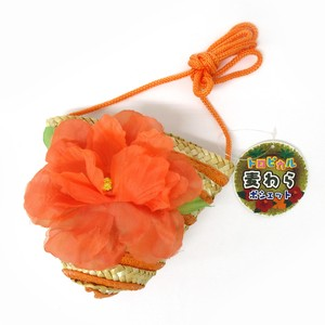 Fashion Accessory Bag Pouch Tropical Straw Pouch Hibiscus Orange