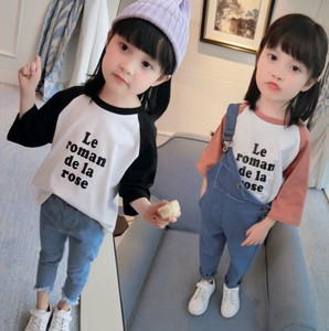 Korea Girl Alphabet Long Sleeve T-shirt Top Cut And Sewn