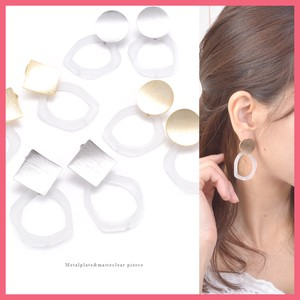 Metal Plate Mat Clear Ring Pierced Earring