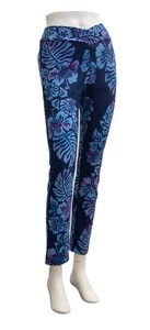 Cropped Pants Skinny Hibiscus Dyeing Navy Pink
