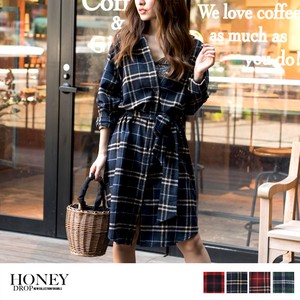 S/S Checkered Shirt One-piece Dress