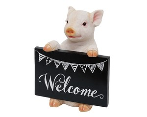 Cheerful Friends Welcome Board pig Motion Real Animal Mascot Ornament
