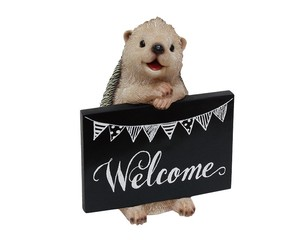 Cheerful Friends Welcome Board Hedgehog Motion Real Animal Mascot Ornament
