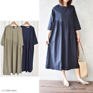 S/S Deformation Gather Switching Long One-piece Dress