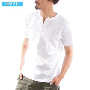 S/S Henry Neck T-shirt Short Sleeve Thick Plain Cut And Sewn