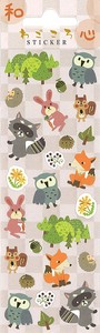 Animal Japan Japanese Raccoon Fox Owl Rabbit Japanese Paper Sticker