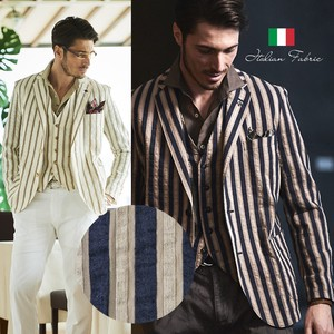 Italy Fabric Cotton Linen Bold Stripe Jacket