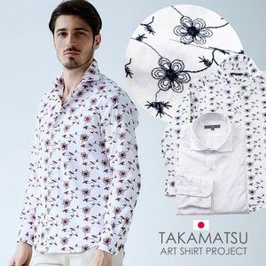 Floral Pattern Embroidery Dress Shirt