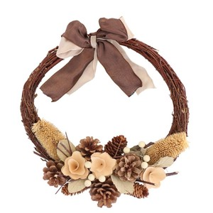 ☆クリスマス/リース☆Slender Wreath-half Natural Pine M