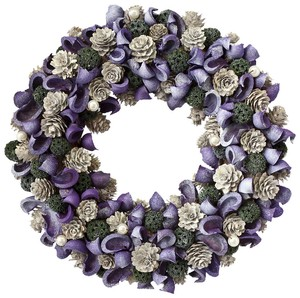 【クリスマス】リース/Purple Wood Cut Wreath M