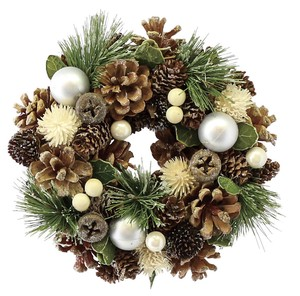 WreathSilver Ball&Natural PineconeSS