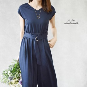 S/S Belt V-neck Long All-in-one