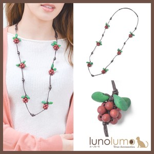 Wood Necklace Ladies Raspberry Long Necklace Natural Material