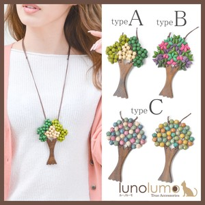 Wood Necklace Ladies Pendant Colorful Multi-Color Metal Natural Material