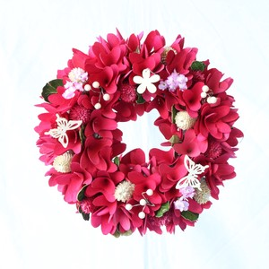 Natural Wreath ウッドフラワー Red S