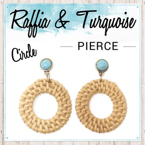 S/S Turquoise Pierced Earring Circle Stone Ladies Fancy Goods