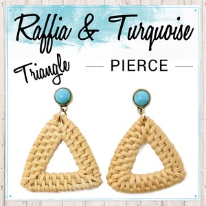 Turquoise Pierced Earring Triangle Stone S/S Ladies