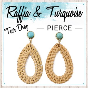 S/S Turquoise Pierced Earring Tear Drop Stone Ladies