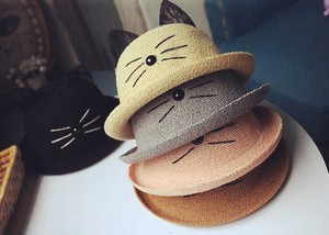 Korea Bowler Hat Kids Cat Straw Hats & Cap