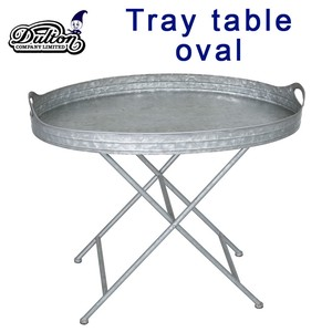 Creative Co-Op Galvanized Metal Tray Table with Stand