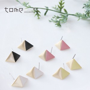 Triangle Pierced Earring Titanium Post Bi-Color Mat Triangle Nickel Free 8 Colors