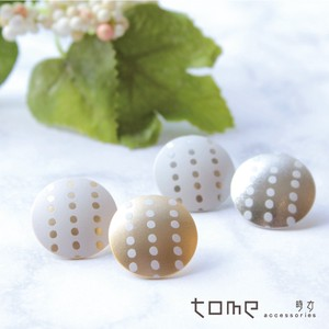 Round Pierced Earring Dot Stripe Bi-Color Titanium Post Nickel Free Silver Gold