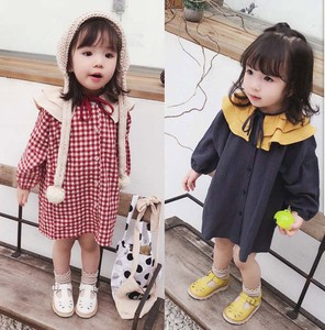 Girl One-piece Dress Attached Children's Clothing Casual Checkered