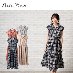 S/S Open Color French One-piece Dress Checkered Color