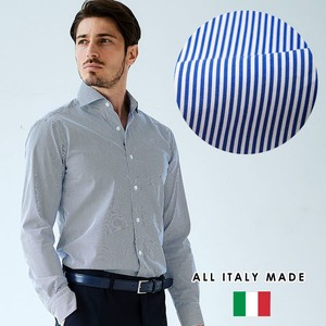 Italy Blue Stripe Wide Cotton Shirt GALLIPOLI camicheria Italy Shirt