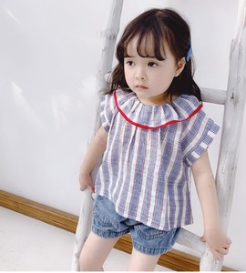 Korea Stripe Attached Short Sleeve Shirt Top