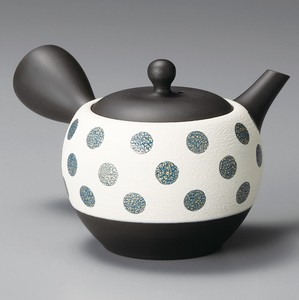 TOKONAME ware Black Circle Dot Japanese Tea Pot