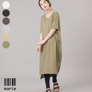 V-neck Short Sleeve T-shirt One-piece Dress Leggings Set